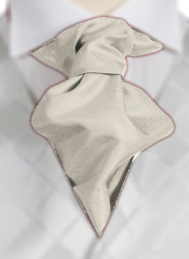 Cream Ruche Tie (+ Handkerchief)