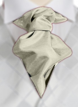 Ivory Satin Ruche Tie (+ Handkerchief)