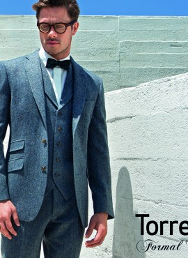 Blue Tweed Run 3 Piece Suit by Torre