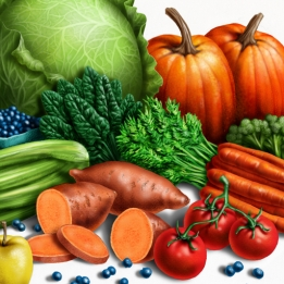 digital illustration by John Fraser of Healthy Food Still Life For Canine Food Supplement Package Label, food, delicious, still life, bounty, Fall Harvest, vegetables, healthy food