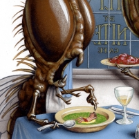 Airbrushed Illustration by John Fraser for The Toronto Star called There's A Man In My Soup, flies, bugs in the food, The Fly By Nite Cafe, restaurant, cafe, eating out
