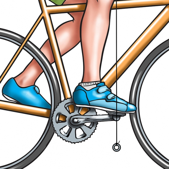 digital illustration by John Fraser showing the Proper foot and pedal position on a bicycle, bicycle, bike mechanics, kinetics,