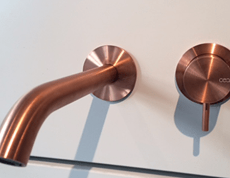 CEA wall mounted brushed Copper basin tap  johngoslettcouk