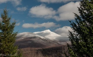 Camel's Hump takes on a mantle of snow and rime in late fall