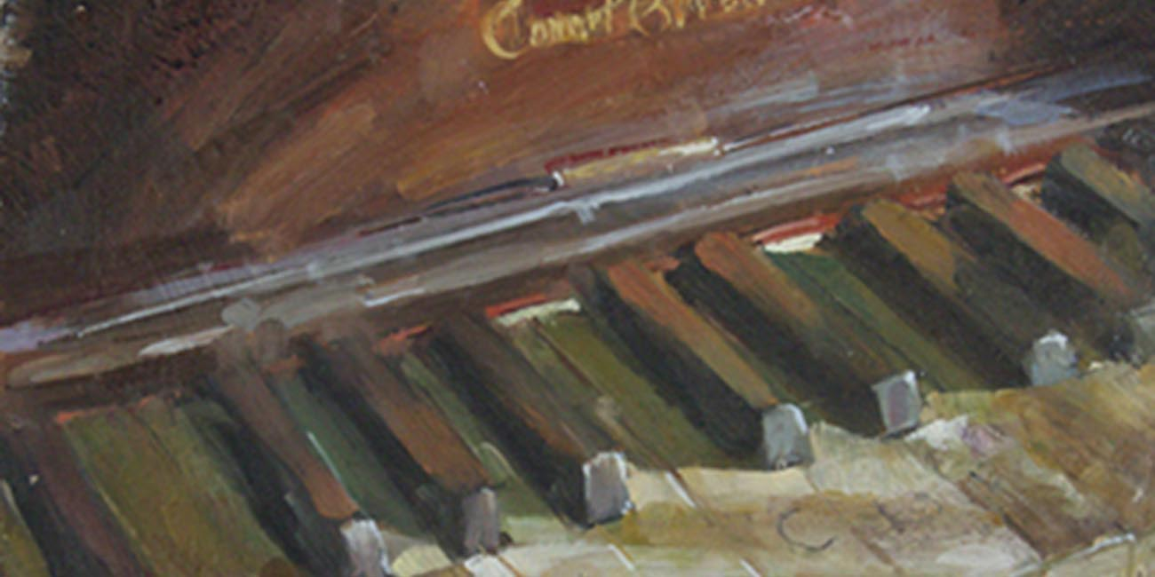 painting of an old piano keys