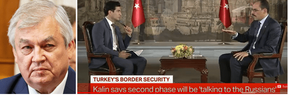 Left, Alexander Lavrentiev; right, Ibrahim Kalin in interview with Pakistan state television on October 19. Source: https://www.youtube.com/ In the Sochi meeting between Putin and Erdogan, Kalin was seated in the Turkish delegation opposite Ushakov in  the Russian delegation.