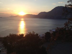 The sunset in Praiano.