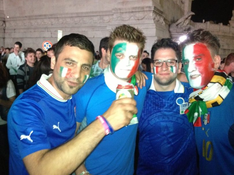 Italian fans gather in Rome before Saturday's midnight World Cup match between Italy and England.
