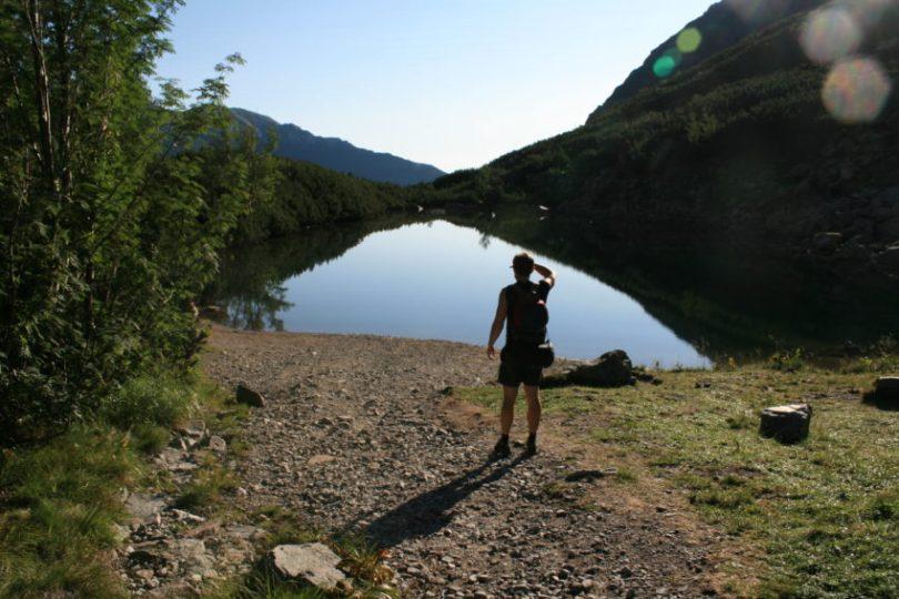 Slovak lawyer Igor Hubinsky lakeside before the climb.