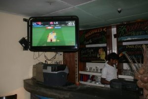 The TV at Chill in Ella was on cricket every hour of the day.