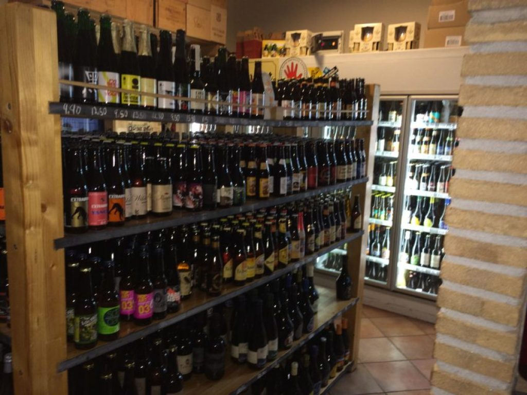 Johnny's Off License sells bottles of beer from all over Europe.