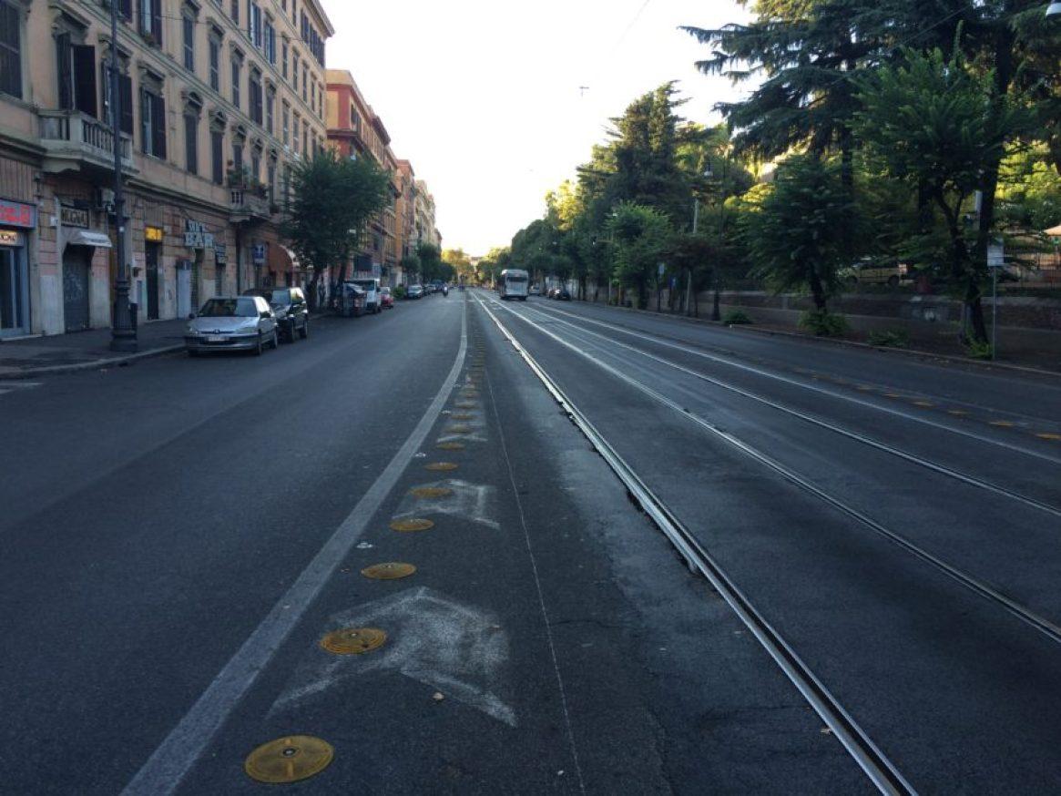This was Via Marmorata, the main drag in my Testaccio neighborhood, last week at 5 p.m.
