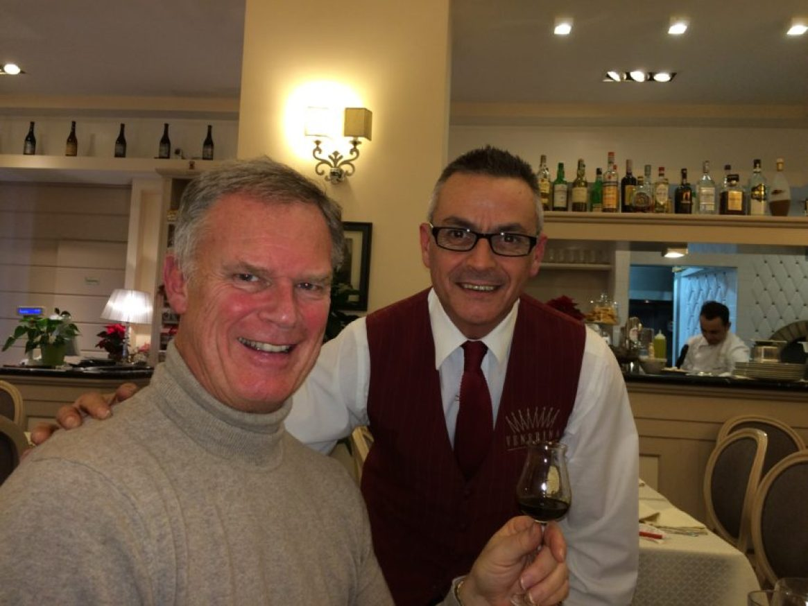 Me with Marco Uras, a waiter for 30 years, at Mamma Venerina near the Vatican.