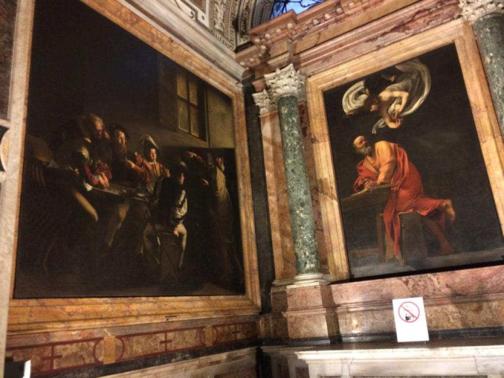Caravaggios in the Chiesa di San Luigi dei Francesi.