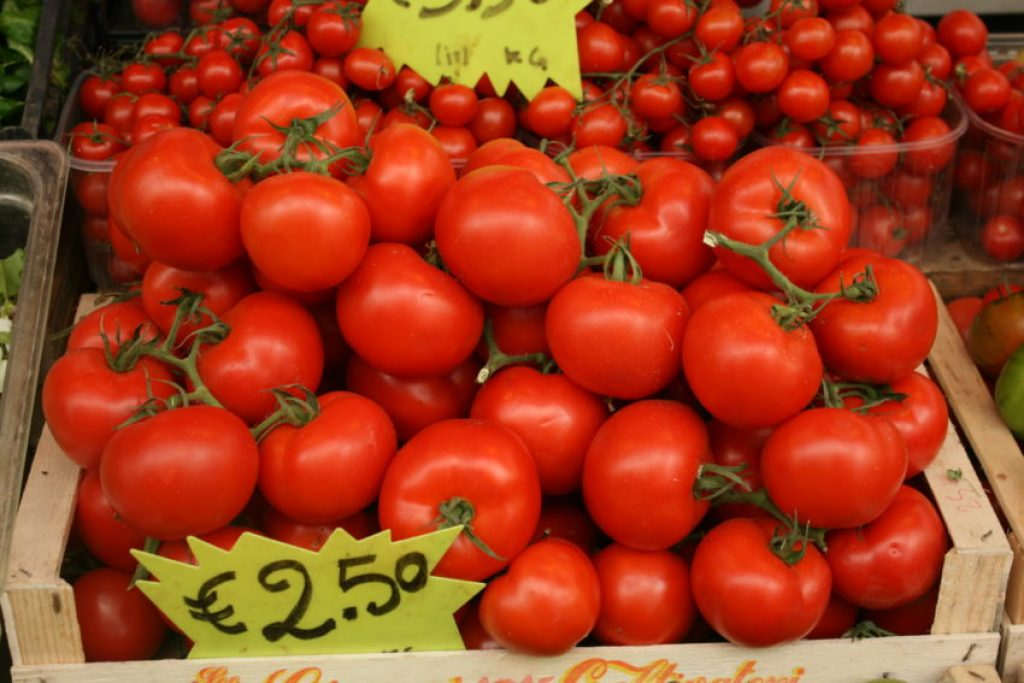 Tomatoes are so sweet in Rome, people eat them like apples.