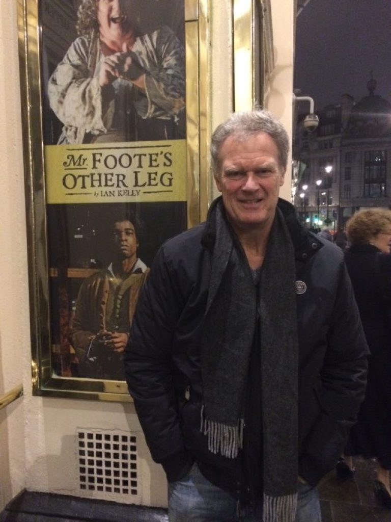 """Me outside Theatre Royal Haymarket where I saw """"Mr. Foote's Other Leg."""""""