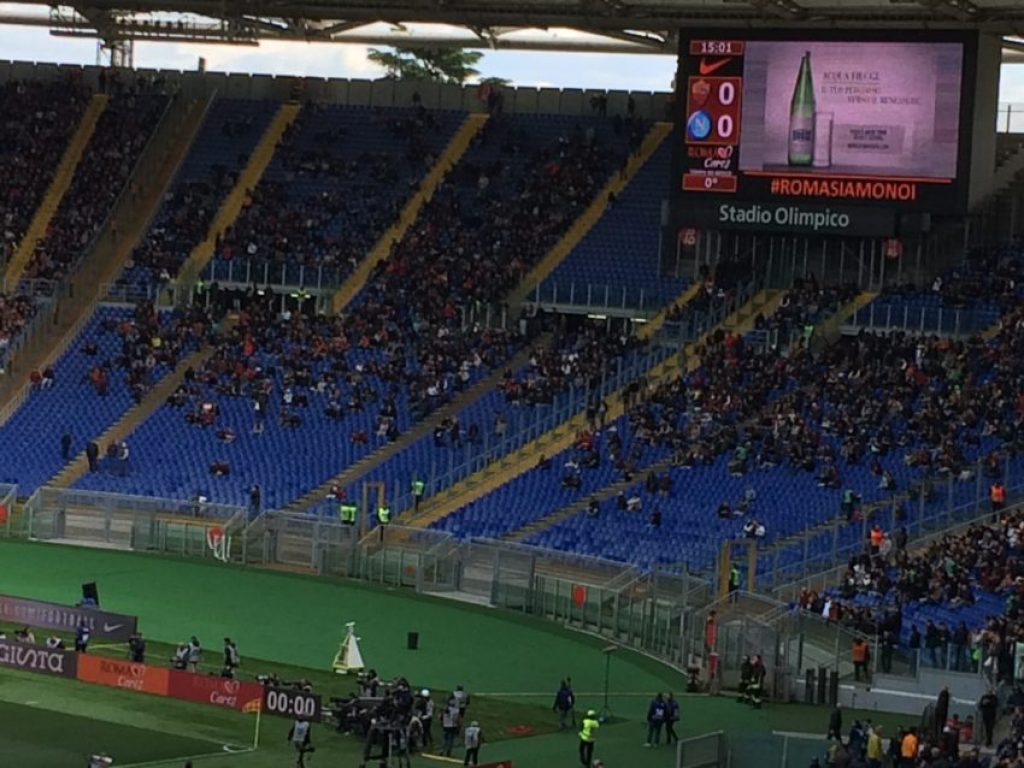 Curva Sud was less than half full, as usual, as Roma's Ultras continue to protest the barrier in the middle of the section.