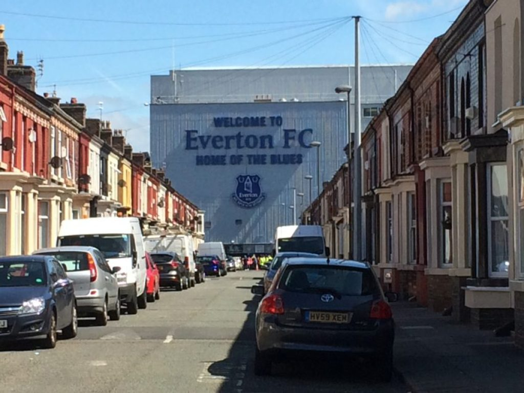 Goodison Park, in the middle of a working-class neighborhood, was built in 1892.