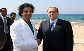 Berlusconi worked with Libya president Muammar Gaddafi to curb immigration from North Africa.