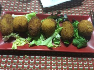 Croquettes and octopus and prawns tapas at Ca Cotet.