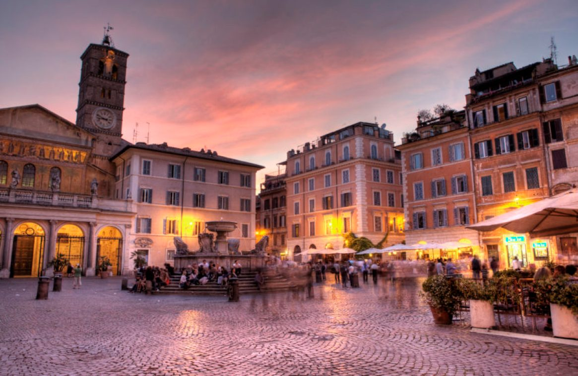 Piazza Santa Maria in Trastevere is the heart of the Trastevere neighborhood.