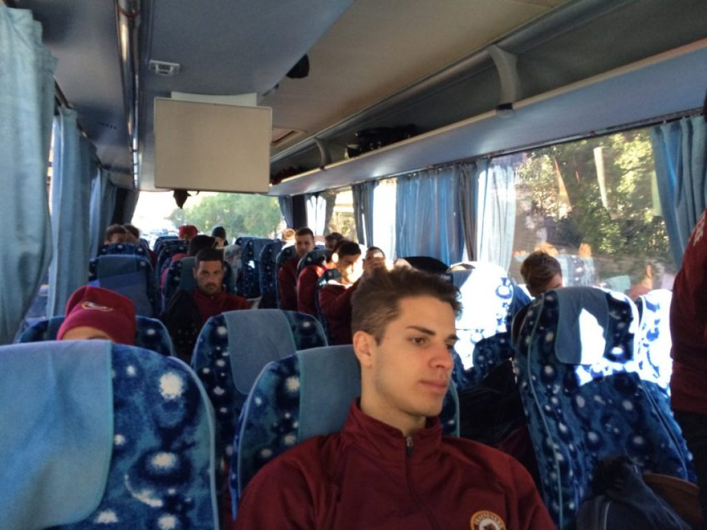 The team settling in for a long ride south.