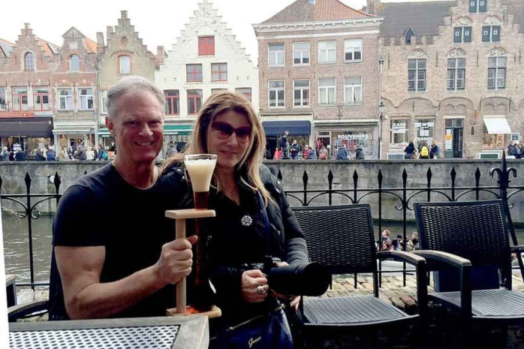 At 2be Beer Wall. Bruges is a great weekend getaway for Marina and me.