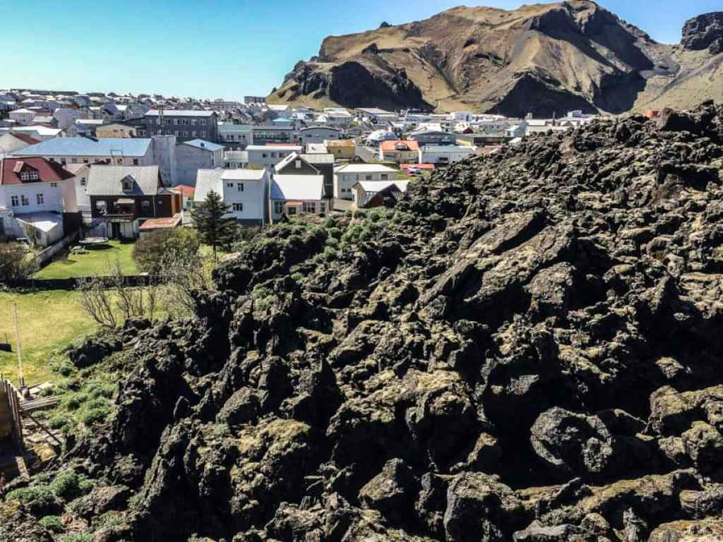 The lava from Heimaey's 1973 eruption came dangerously close to wiping out the entire town.