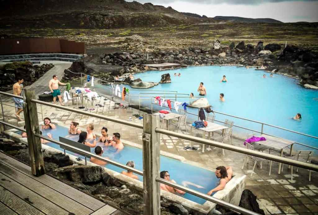 Myvatn Nature Bath in North Iceland has three pools ranging from 95-108 degrees.