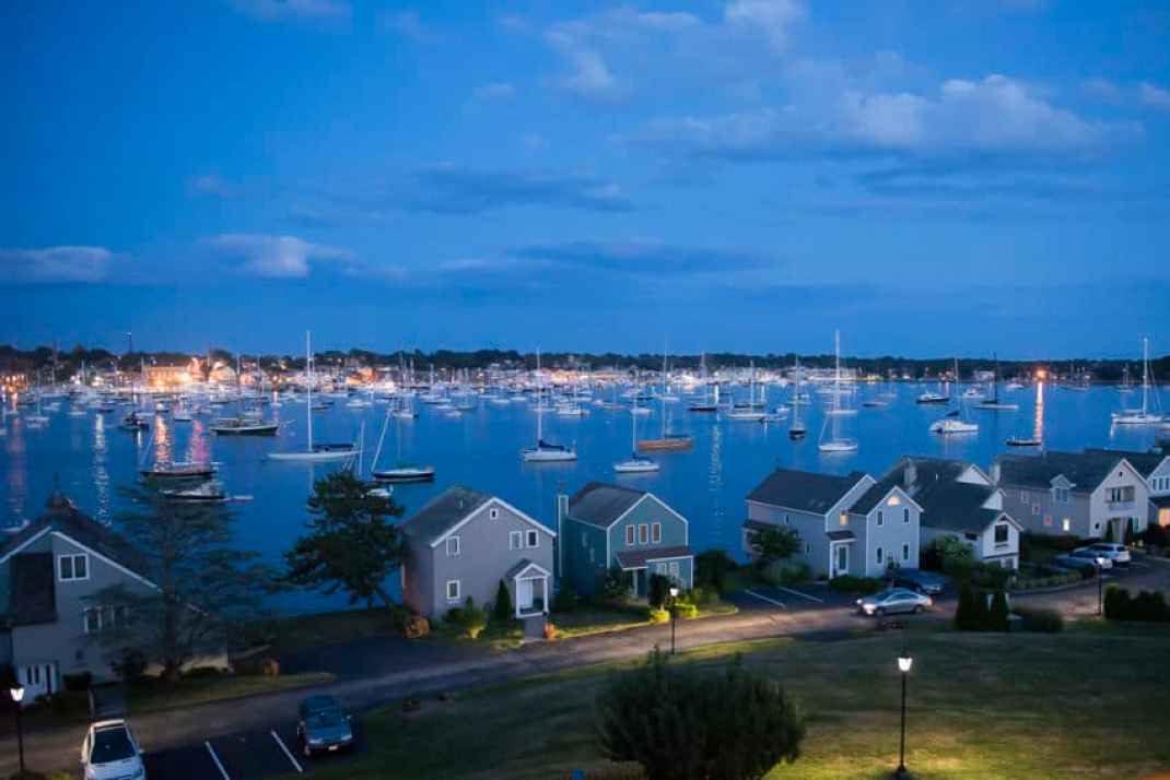 The view of Newport Harbor from the Blooms' deck on Goat Island. Photo by Marina Pascucci