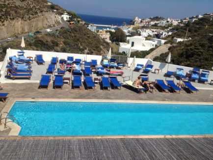 The pool at the four-star Albergo Chiara Beach.