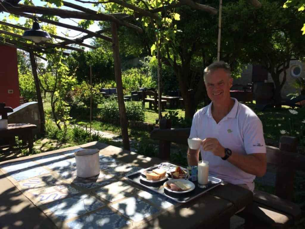 Eating breakfast in the garden courtyard of Procida's Albergo La Vigna was one of the highlights of our year. Photo by Marina Pascucci