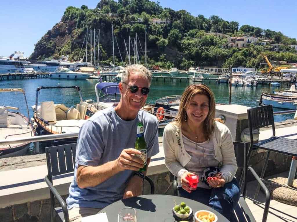 Marina and I on a port-side bar in Procida.