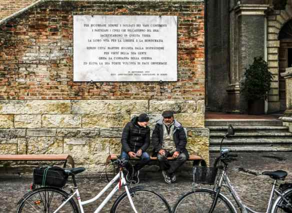 Two old friends enjoying Rimini's off-season solitude. Photo by Marina Pascucci