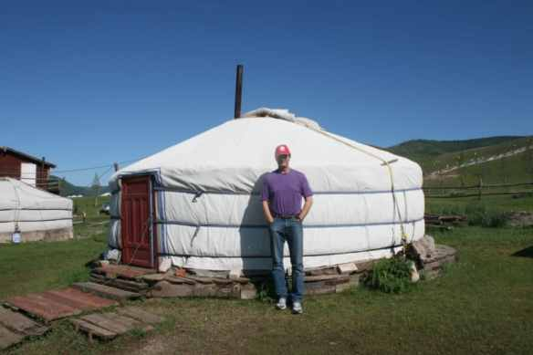Outside my ger in Mongolia.