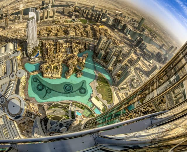 The view from the 2,720-foot Burj Khalifa, the highest building in the world. Visit Dubai photo