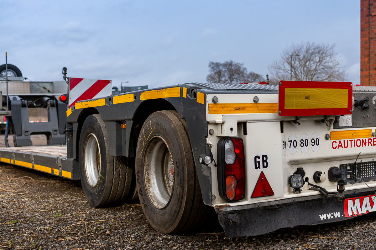 The Faymonville MegaMAX low-bed semitrailer. A two axle that low loader for hire from John Hudson Trailers that can be equipped selectively with hydraulic or pneumatic suspension.