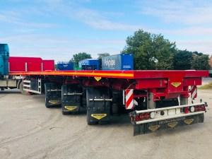 Image of a triple extendable platform trailer