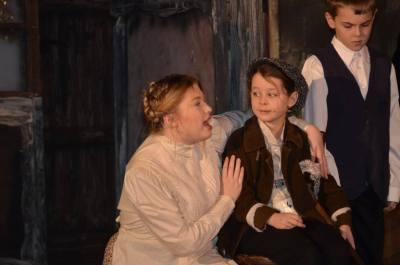 Mrs Cratchit and Tiny Tim
