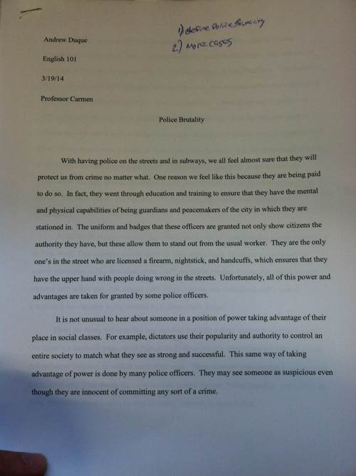 Police Essays Police Brutality Essay Co On Police Misconduct A