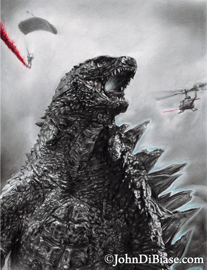 Godzilla 2014 Colored Pencil Graphite Drawing