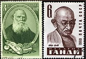 Postage stamps showing Tolstoy and Gandhi