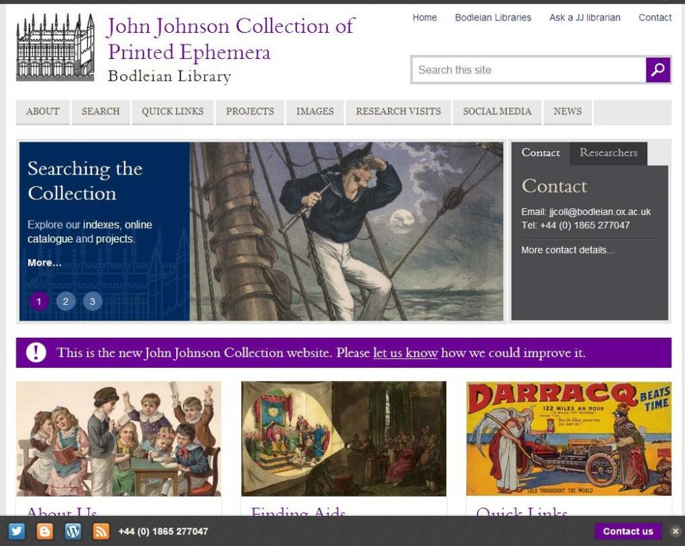 New website for the John Johnson Collection