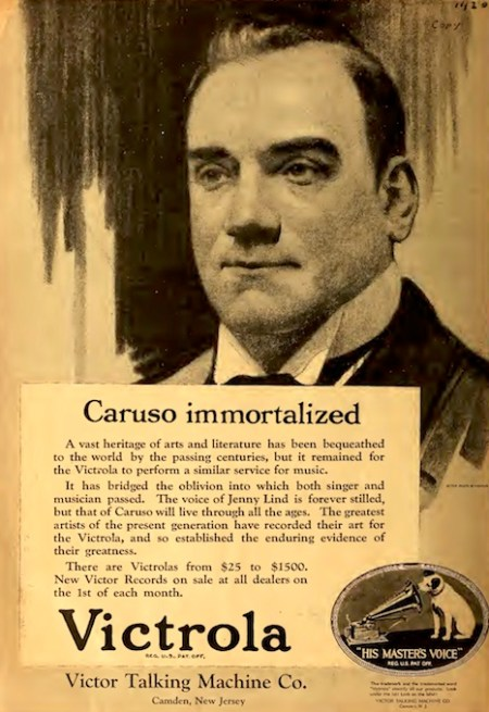 1921 - Caruso immortalized - Victrola magazine ad