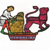 An image derived from the first of Heracle's trials, defeating the Lion of Nemea. Showing also one of the 'Labours of the Month' - the grain being harvested.