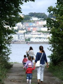 One of the many walks on Spike, looking at Cobh across the harbour.