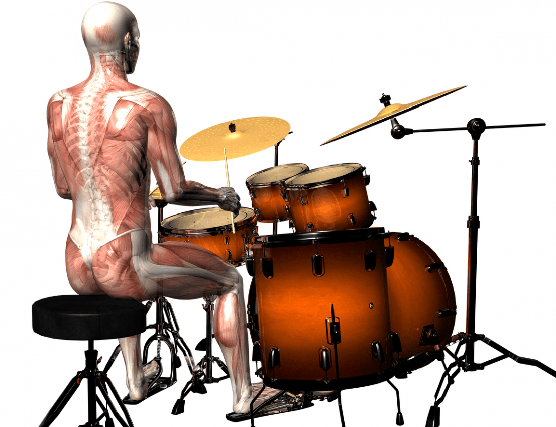 This drummer displays much better posture and the proper hip angle.