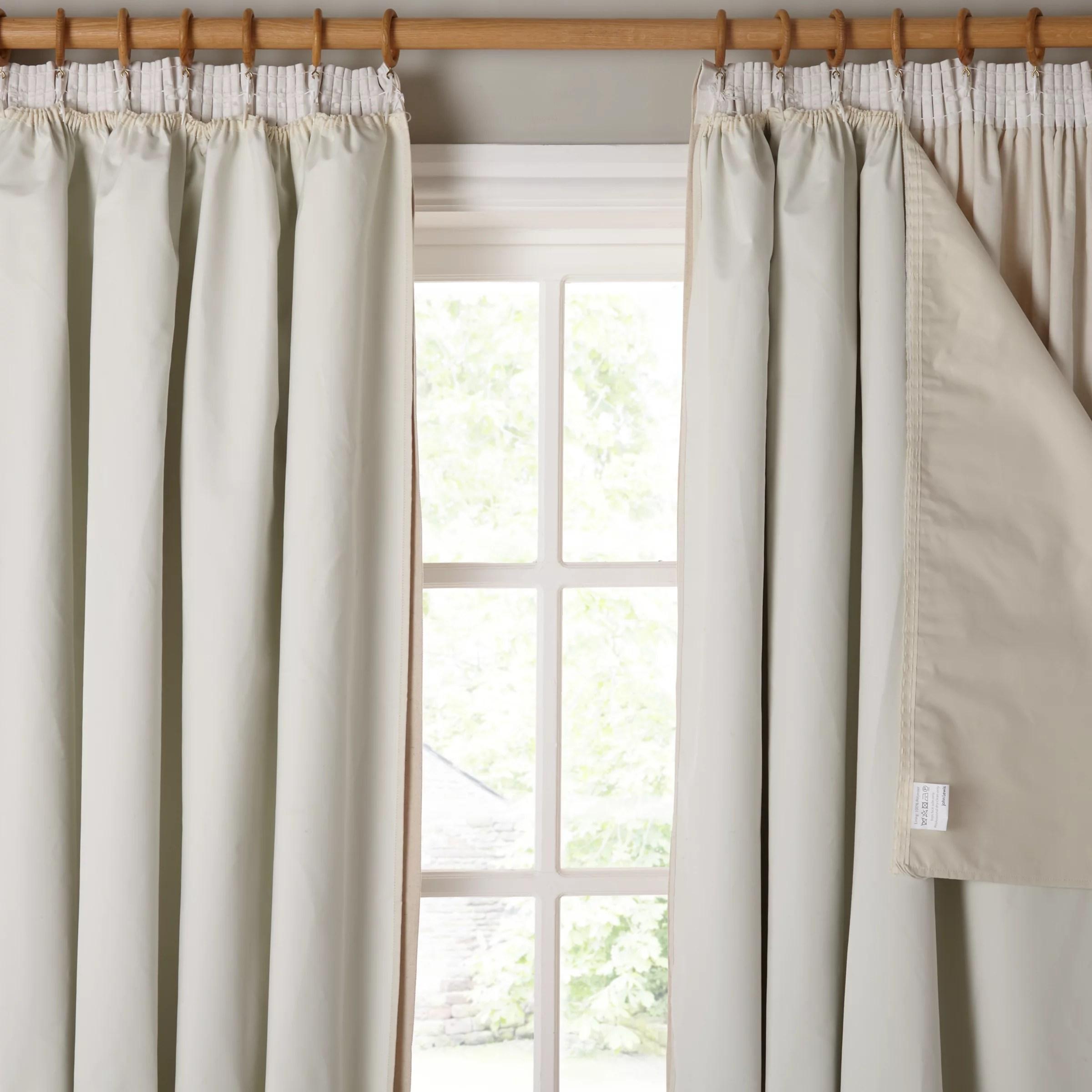 Buy John Lewis Pencil Pleat Blackout Curtain Linings Ivory John