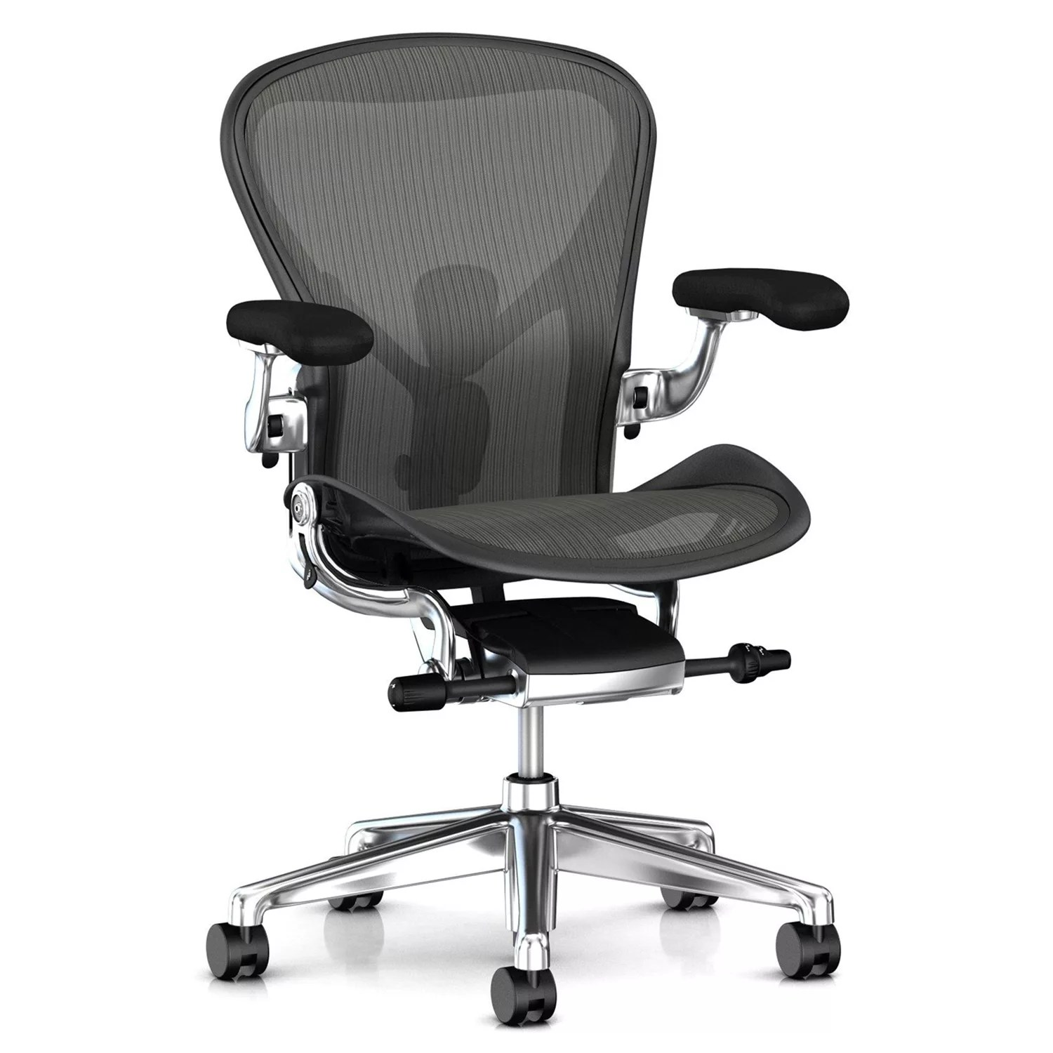 aeron office chairs outdoor recliner australia herman miller new chair graphite polished