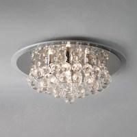 John Lewis Belinda Flush Ceiling Light, Chrome / Crystal